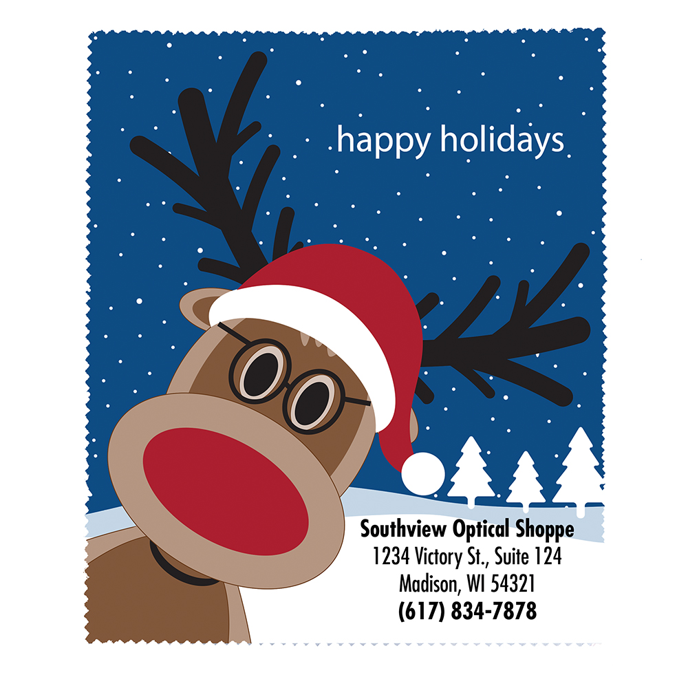 Happy Holidays Reindeer Microfiber Cloth - Personalized