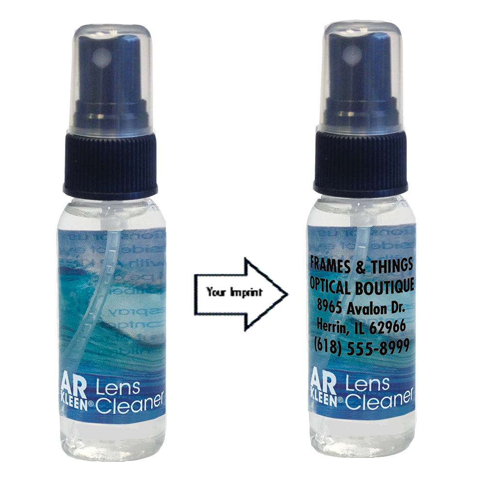 Related Product: AR Kleen® Lens Cleaner Reverse Graphic Label 1oz spray bottle - Personalized