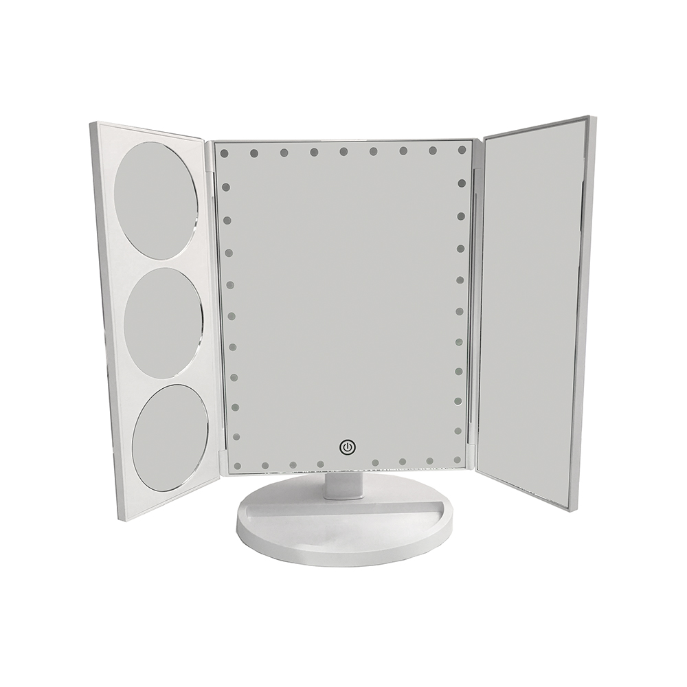 Lighted 3-Panel Pedestal Mirror