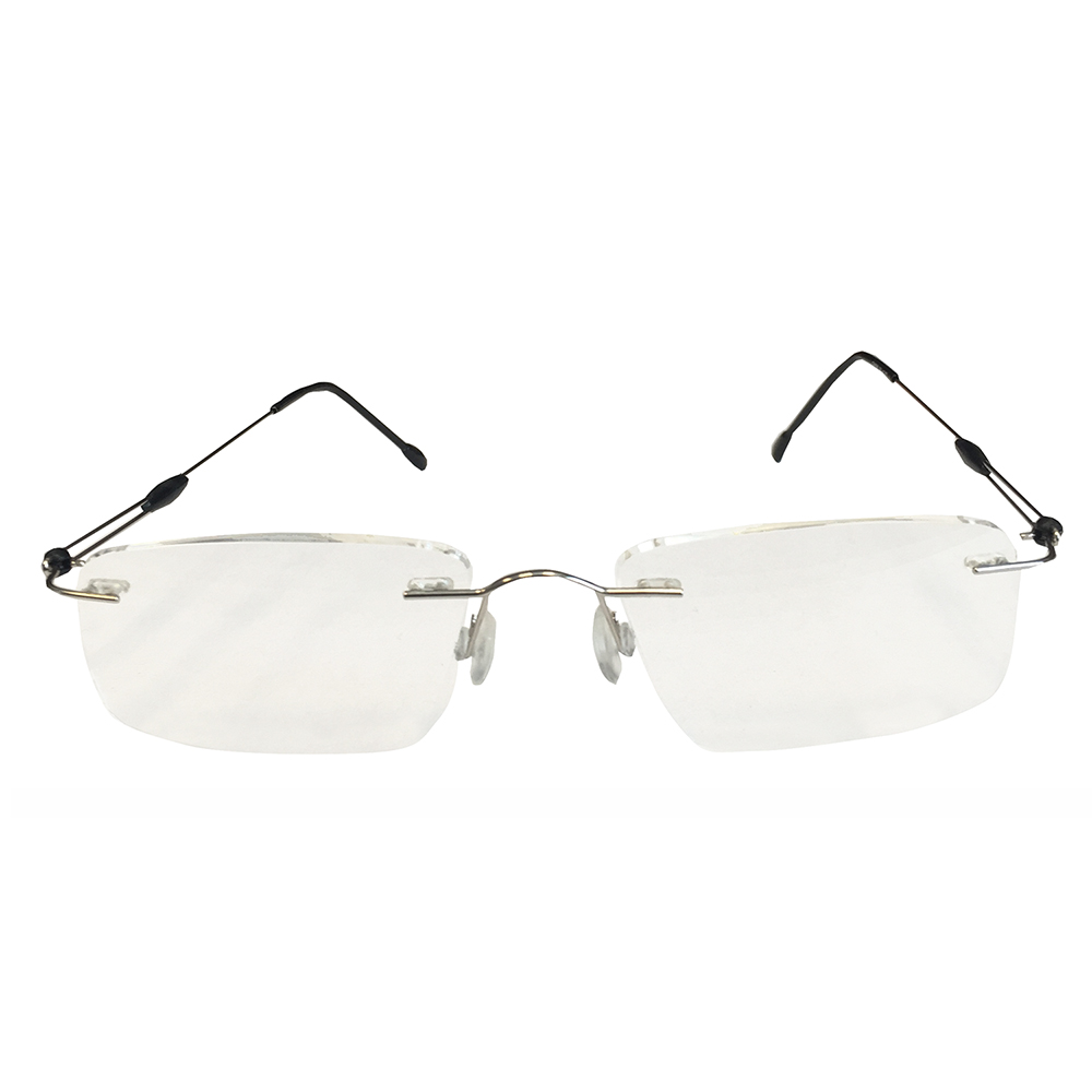 Rimless Silver Metal Reader