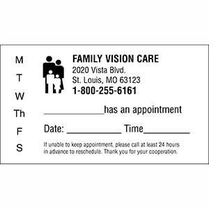 Related Product: Appointment Reminder Cards