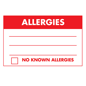 Patient Allergy Warning Labels