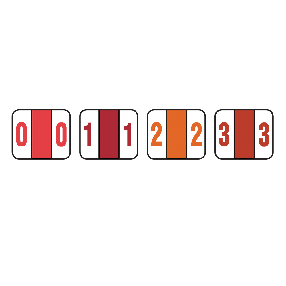 Color-Coded Numeric Labels, 0-9