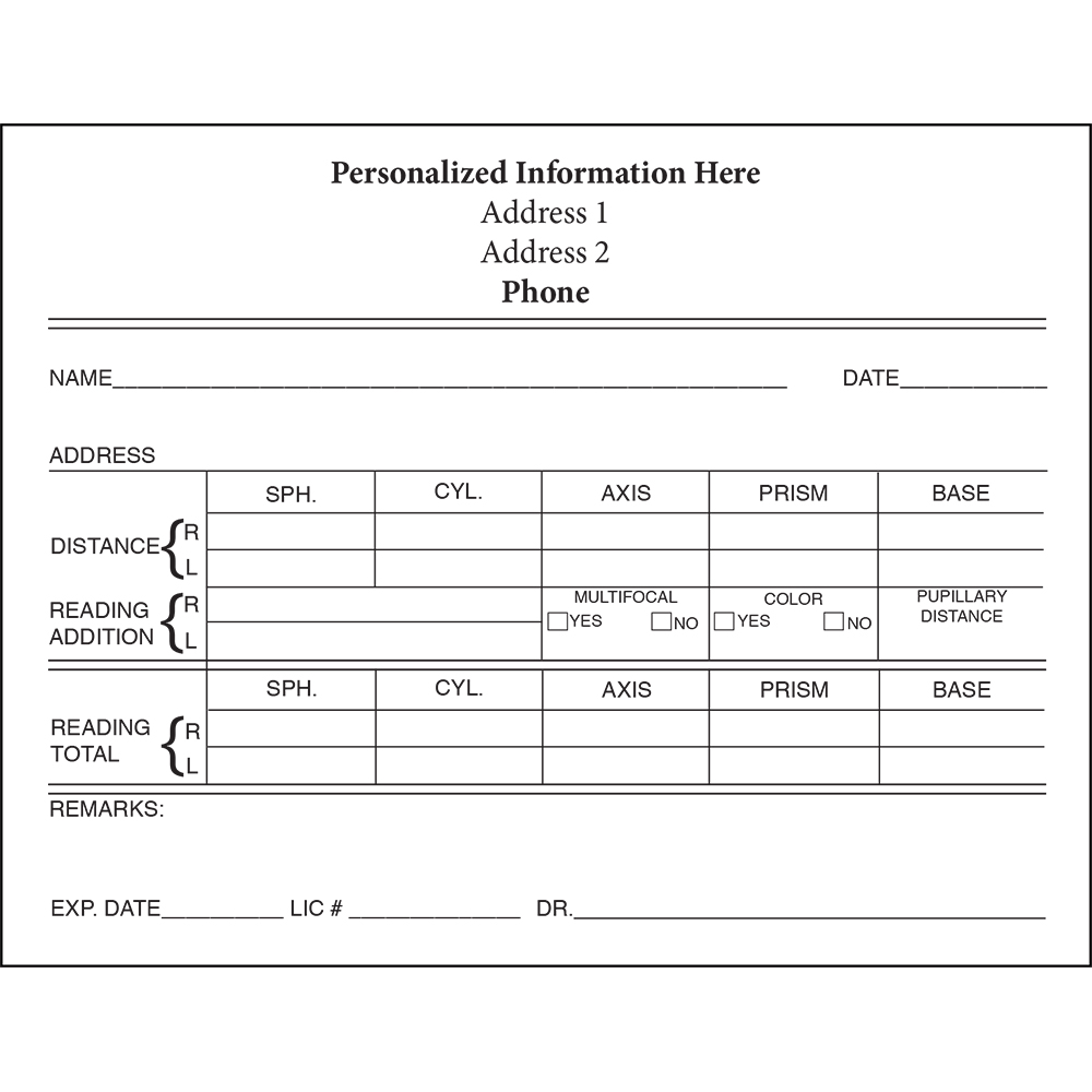 Personalized Eyeglass Rx Form