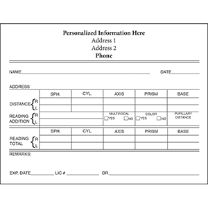 Related Product: Personalized Eyeglass Rx Form