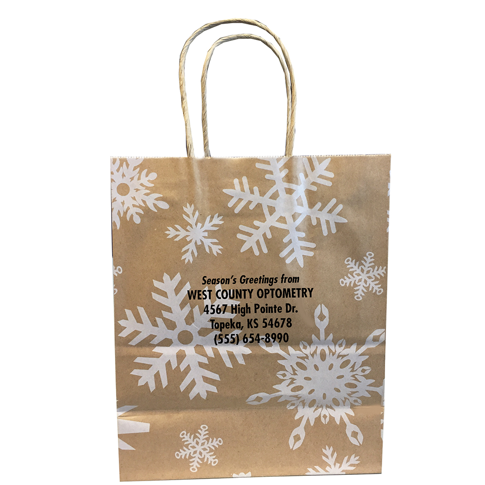 Snowflake Kraft Bag - Imprinted
