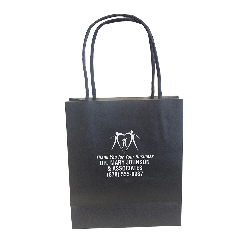 Small, Black, Eco-Friendly Kraft Paper Bags - Imprinted