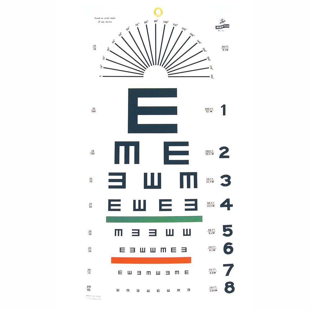 Tumbling E Eye Chart - 20' Distance
