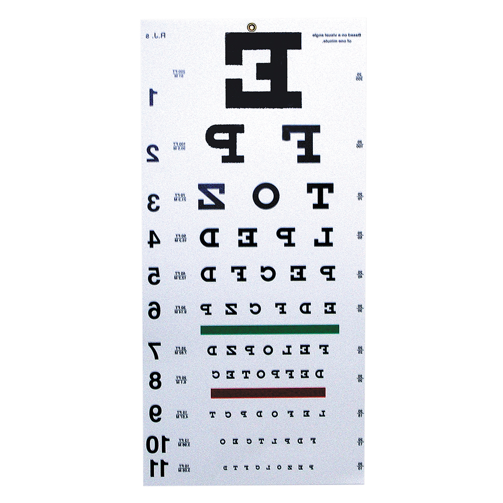 Reversed Snellen Chart 20 Distance Eye Cards Eye Charts
