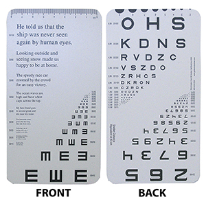 Reduced Snellen Card: Eye Cards & Eye Charts: Vision Assessment