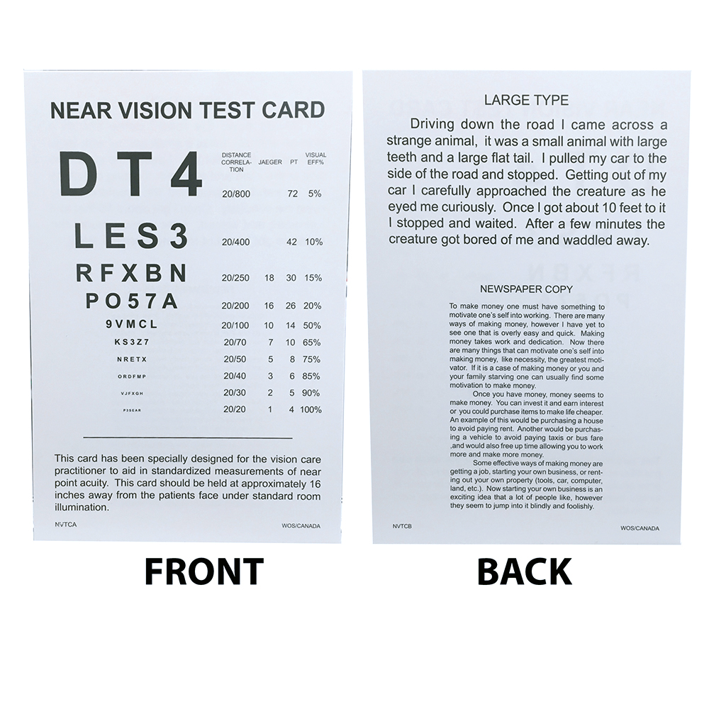 Near Vision Test Card Eye Cards Eye Charts Vision Assessment