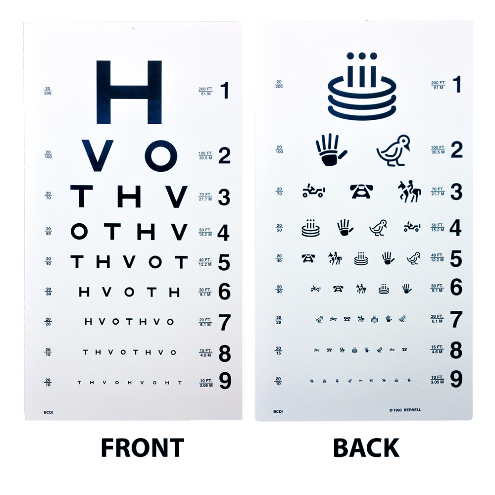 Hotv Eye Chart 20 Distance Eye Cards Eye Charts Vision Assessment