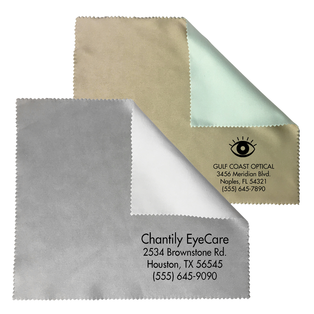 Two-Tone Sateen Microfiber Cleaning Cloth Combo Imprint - Imprinted in Bulk